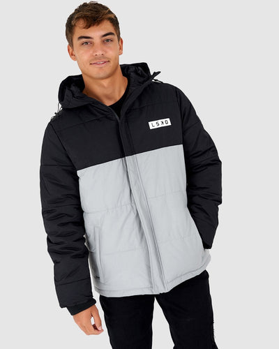 Roasted Puffer Jacket - Black-Grey