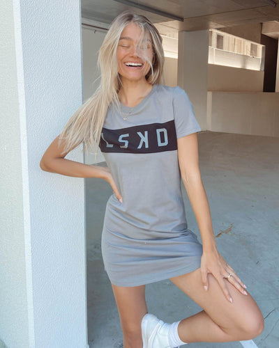 Dough Tee Dress - Frost Grey-Black
