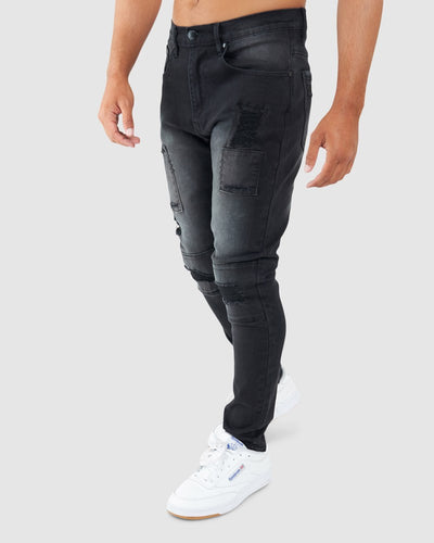Stitch Up Denim Pant - Black Fade