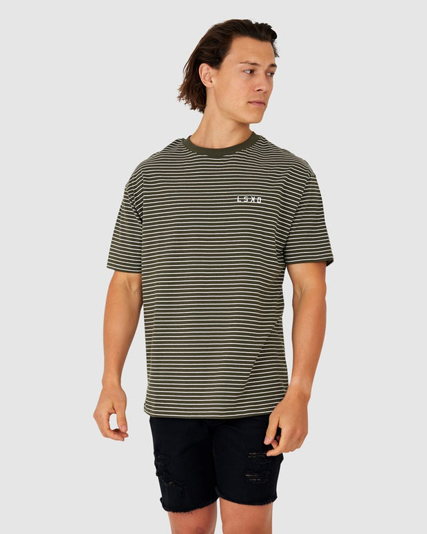 Hype Tee - Olive Stripe