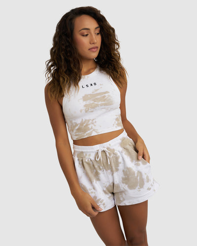 Crop Fields Ribbed Tank - Pussywillow Tie Dye
