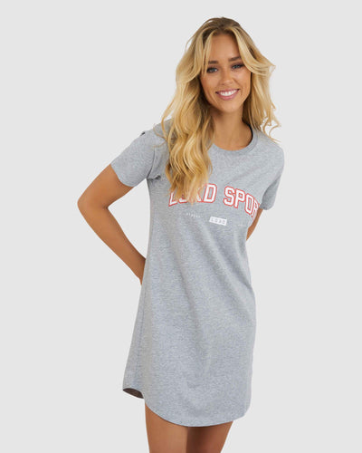 College Tee Dress - Lt Grey Marle-Chilli