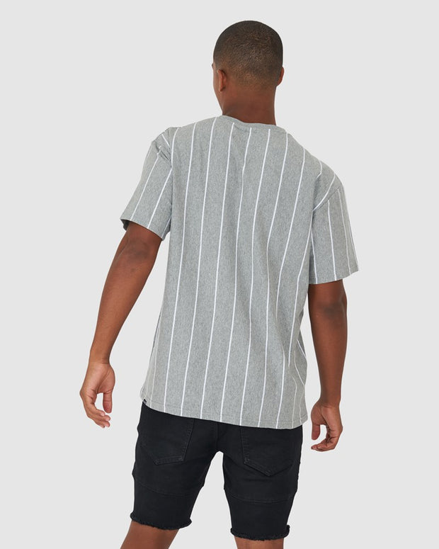 Restless Tee - Grey Stripe-White