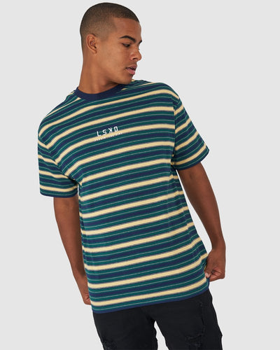 Chasin Vibes Box Fit Tee - Forest Stripe