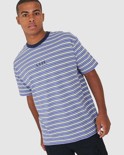 Chasin Vibes Box Fit Tee - Purple Stripe