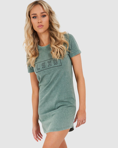 Outline Tee Dress - Grey Green Pigment