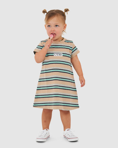 Cornerstone Tee Dress (00-6) - Pastel Stripe