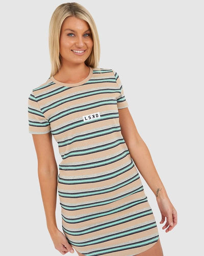 Cornerstone Tee Dress - Pastel Stripe