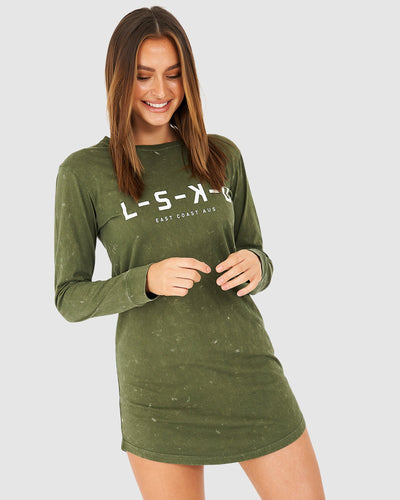 Label LS Dress - Acid Olive