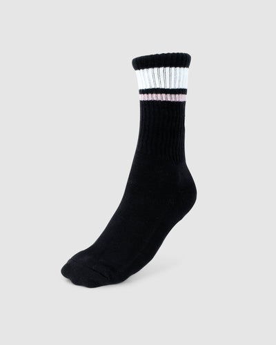 Chiller Crew Sock - Black-Dusty Pink