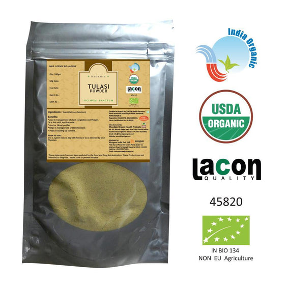 Organic Tulasi Powder for Cold, Asthma, Bronchitis, COPD - 200 Gms