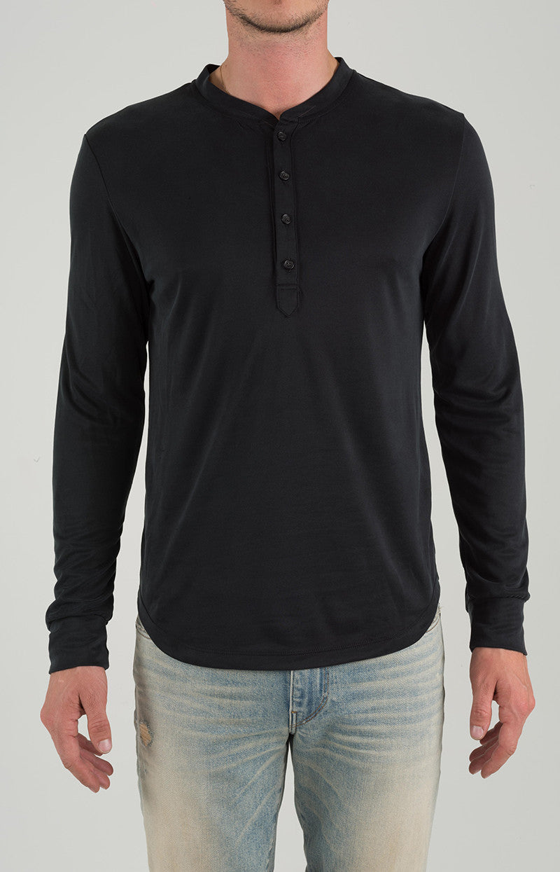 Henley Long Sleeve - Black