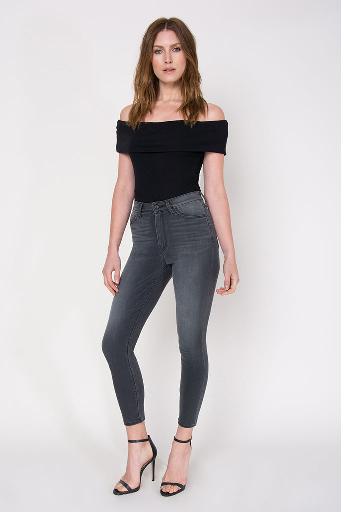 "Farrah High Rise Cropped 26"" Skinny - Ashes"