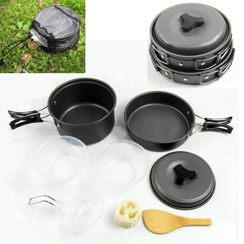 9 pcs Outdoor Camping Cookware Pot Pan Set