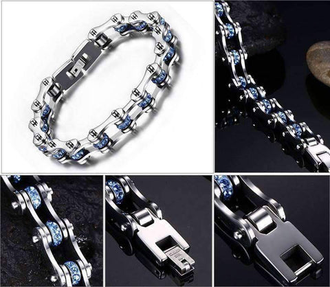 Image of Crystal Stainless Steel Bike Bracelet - OutdoorsAdventurer