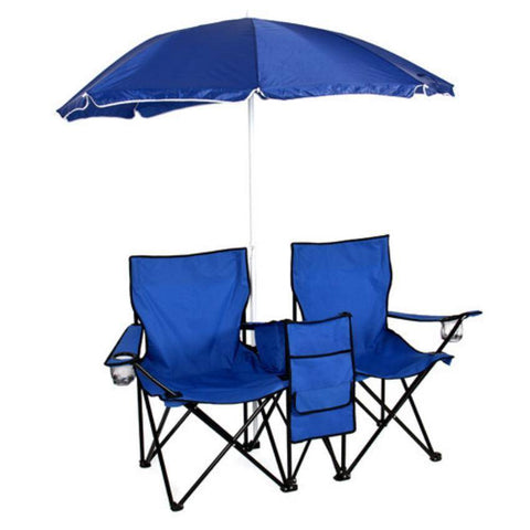 Image of Double Folding Chair with Umbrella, Table and a Cooler
