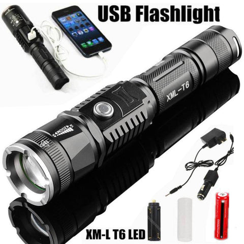 Image of 2-in-1 LED Flashlight With USB Phone Charger