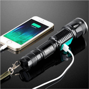 2-in-1 LED Flashlight With USB Phone Charger