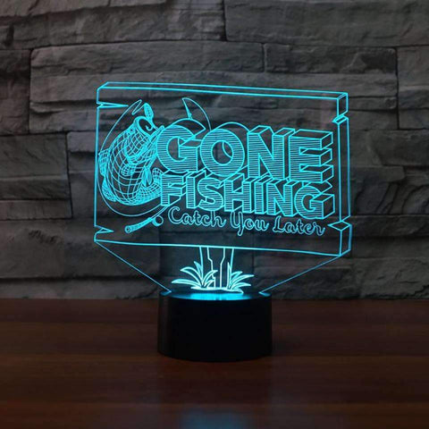 Image of 3D LED Gone Fishing Table Lamp - OutdoorsAdventurer