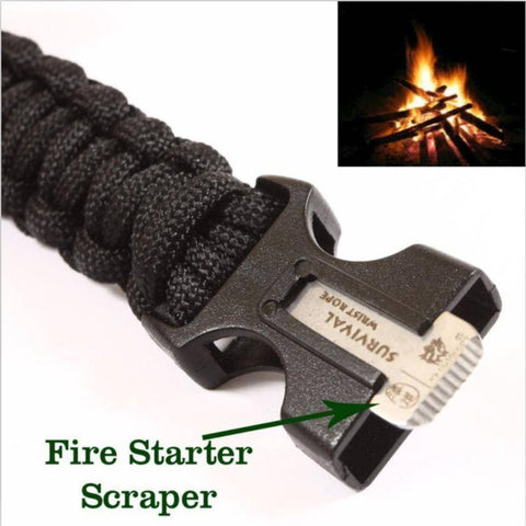 4 in 1 Flint Fire Starter Whistle Outdoor Camping Survival Bracelet - OutdoorsAdventurer