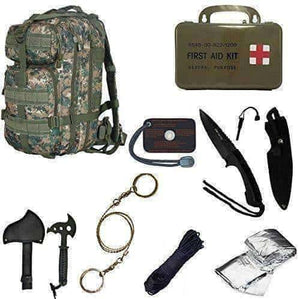 "Ultimate Digital Camo Backpack Kit, Includes Signal Mirror,Polarshield Blanket, Knife, Fire Starter, Wire Saw, Axe, 50"" Paracord & First Aid Kit"