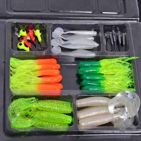 35 Soft Worm Fishing Baits & 10 Jig head hook set