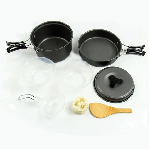 Image of 9 pcs Outdoor Camping Cookware Pot Pan Set - OutdoorsAdventurer