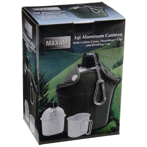 Image of 32oz Canteen With Cover, Cup and Clip. Army/Hunter Green - OutdoorsAdventurer