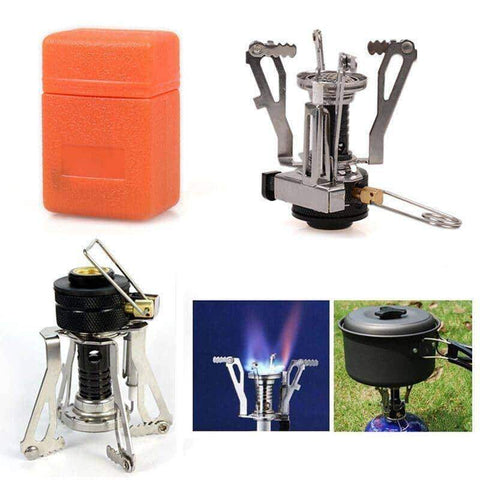 Image of Portable Gas Burner With Mini Steel Stove & Case - OutdoorsAdventurer