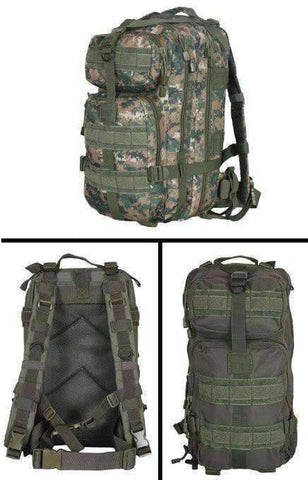 "Ultimate Digital Camo Backpack Kit, Includes Signal Mirror,Polarshield Blanket, Knife, Fire Starter, Wire Saw, Axe, 50"" Paracord & First Aid Kit BAG"