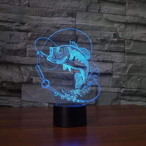 Image of 3D Fish LED Lamp - OutdoorsAdventurer