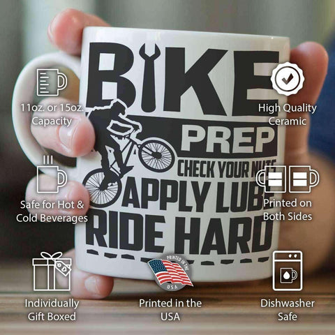Image of Bike Prep, Check Your Nuts, Apply Lube, Ride Hard - Mug - OutdoorsAdventurer