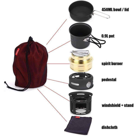 Image of 7 in 1 Portable Outdoor Cookware - OutdoorsAdventurer