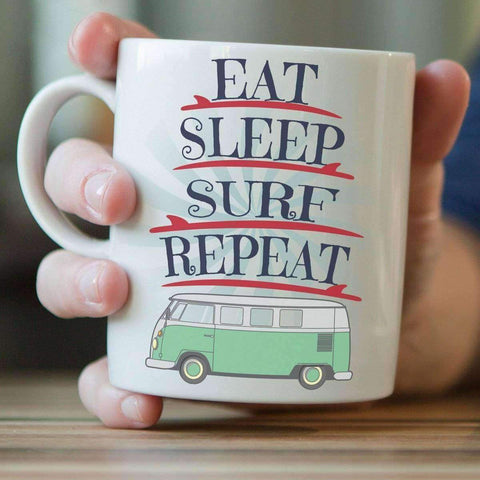 """Eat Sleep Surf Repeat"" Surfing Mug - OutdoorsAdventurer"