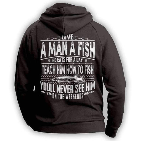 Image of Black Fishing Angler Funny Hoodie Outdoors Adventurer