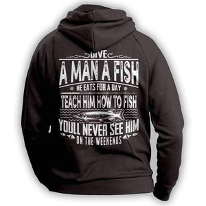 Black Fishing Angler Funny Hoodie Outdoors Adventurer