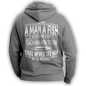 Grey Fishing Angler Funny Hoodie Outdoors Adventurer
