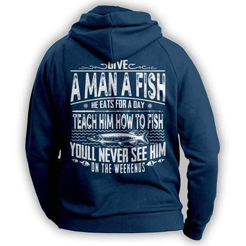 Image of Navy Fishing Angler Funny Hoodie Outdoors Adventurer