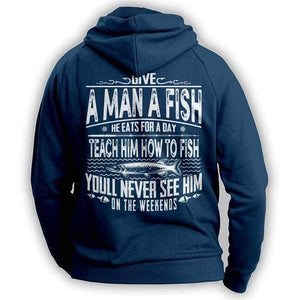 Navy Fishing Angler Funny Hoodie Outdoors Adventurer