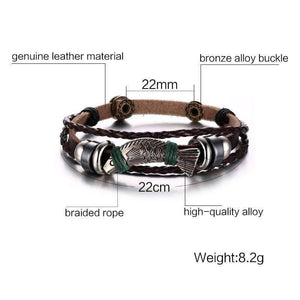 Fishing Leather Bracelet - OutdoorsAdventurer