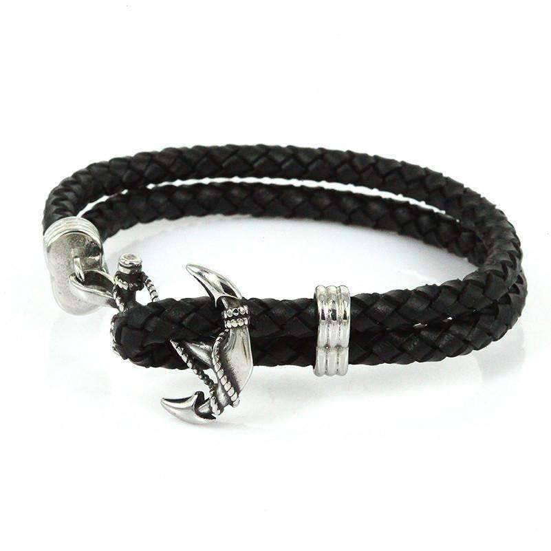 Rope Leather Anchor Bracelet