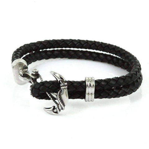Image of Rope Leather Anchor Bracelet