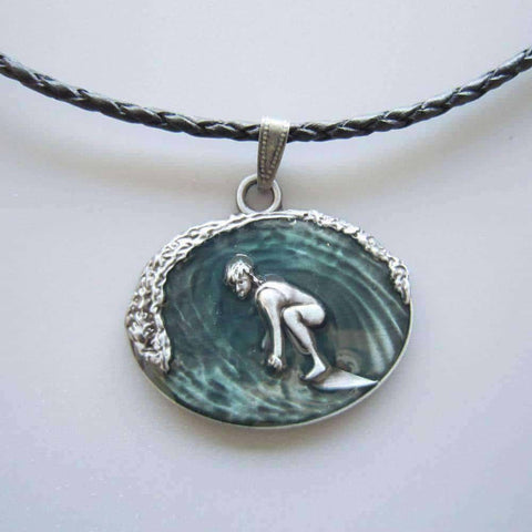 Surfing Charm Braided Leather Necklace
