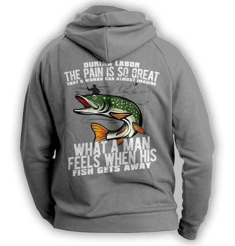 """What A Man Feels When His Fish Gets Away"" Fishing Hoodie"