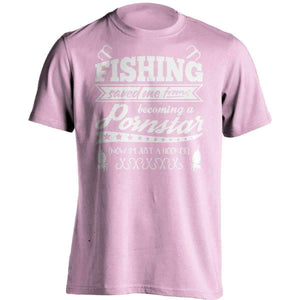 """Fishing Saved Me From Becoming A Pornstar..."" Fishing T-Shirt - OutdoorsAdventurer"