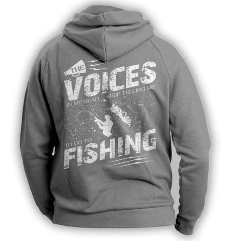 "Image of ""The Voices In My Head Keep Telling Me To Go Fishing"" Hoodie - OutdoorsAdventurer"
