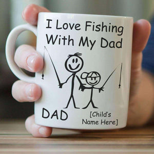 ''I Love Fishing With My Dad'' Personalized Mug - OutdoorsAdventurer