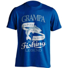 "Load image into Gallery viewer, ""Grampa, The Man, The Myth, The Fishing Legend"" T-Shirt - OutdoorsAdventurer"