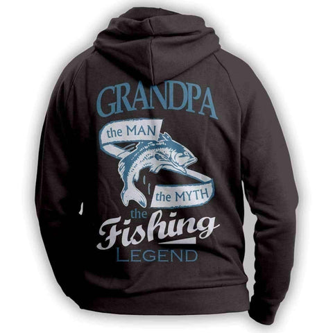 """Grandpa, The Man, The Myth, The Fishing Legend"" Hoodie"