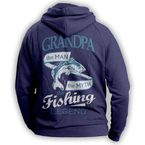 """Grandpa, The Man, The Myth, The Fishing Legend"" Hoodie - OutdoorsAdventurer"